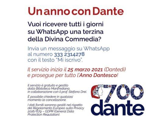 25 marzo – 14 settembre 2021Un anno con Dante – una terzina al giorno